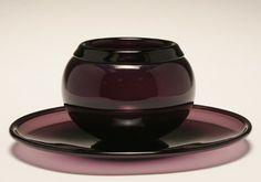 Timo Sarpaneva for Iittala aubergine art glass bowl and underplate