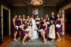 This color purple would be pretty with slate!  (Eggplant Purple Jenny Yoo Bridesmaid Dresses)