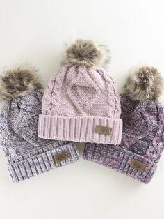 Cozy and warm fleece lined Pom Pom Beanie. Black Kids Fashion, Kids Winter Fashion, Cute Kids Fashion, Toddler Fashion, Beanie Outfit, Beanie Hats, Cc Beanie, Cute Beanies, Cute Hats
