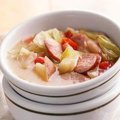 Loaded Bratwurst Stew: Slow-cooker mixture of brats and cabbage potatoes.