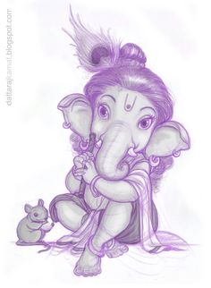 Bal Ganesha as Lord Krishna! Ganesha Drawing, Lord Ganesha Paintings, Ganesha Art, Indian Gods, Indian Art, Om Gam Ganapataye Namaha, Ganesh Tattoo, Baby Ganesha, Hindu Deities