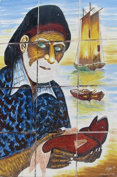 A tile mural celebrating the traditional fisherman.