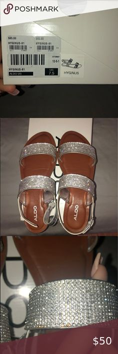 Aldo Sliver Sparkle Sandals Sz 7.5 Fairly New Purchased from Aldo, Sz 7.5, Brown and Sliver Sparkly Sandal Aldo Shoes Sandals Aldo Shoes, Women's Shoes Sandals, Sparkly Sandals, Sparkle, Shop My, Brown, Closet, Things To Sell, Fashion