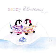 penguins fishing christmas card