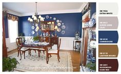 blue dining room with chair rail