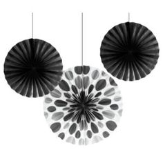 Polka Dot & Solid Paper Fans, Black