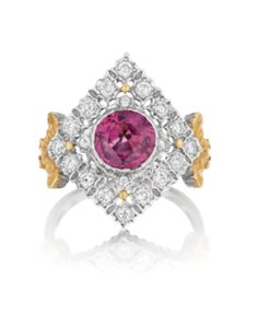 BUCCELLATI A Pink Tourmaline and Diamond Ring Centering upon a circular-cut pink tourmaline, within a kite-shaped pierced openwork surround, accented by circular-cut diamonds, to the textured gold shoulders, mounted in 18K white and yellow gold, size 7 1/4. Signed 'Buccellati', 'Italy'