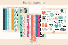 Check out Hello Bundle Clip Art and Papers by Citrus and Mint on Creative Market