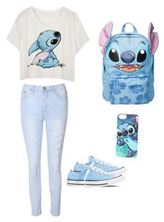 """Lilo and stitch "" by lupefarias ❤ liked on Polyvore featuring Glamorous, Disney and Converse"
