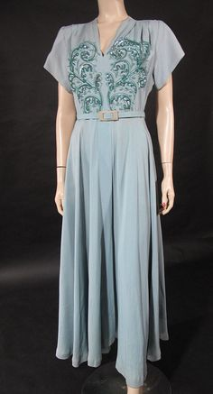 Blue-grey rayon dress with sequin and braided cord embellishments, 1940's.