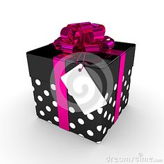3d rendering of gift box with label  over white background