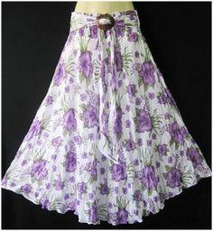 New Women Summer Long Boho Hippie Gypsy Cotton Coconut Shell Buckle Skirt #Handmade #strecth