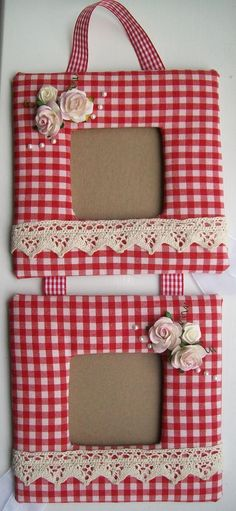 red gingham photo frame