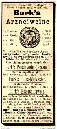 Original-Werbung/ Anzeige 1897 - BURK ARZNEIWEINE - STUTTGART - ca. 45 x 100 mm
