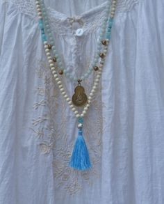 yoga by the sea   white mermaid blue tassel necklace by beachcomberhome, $28.00