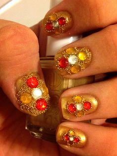 Nails I did for a Bollywood party:)