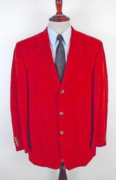 1f2a44746 Ibiza Blazer Sport Coat size 44L Burgundy Corduroy Dual Vent Three Button  Cotton #Ibiza #ThreeButton