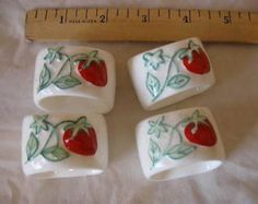 Set of 4 Bone China Napkin Rings White with Strawberries Collectible CL25-14