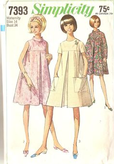 1960s Vintage Maternity Dress Pattern Tent Dress by CherryCorners, $8.00
