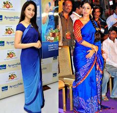 Tamanna in plain dual color sari with ribbon border and Nayanthara in blue traditional saree with embroidery and lace border.