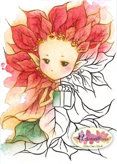 Digital Stamp - Holiday Poinsettia Sprite w/ Present - Instant Download - Whimsical Fantasy Line Art for Cards & Crafts by Mitzi Sato-Wiuff
