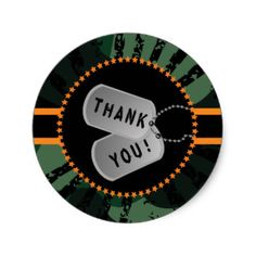 Camouflage, Dog Tag, Thank You Sticker
