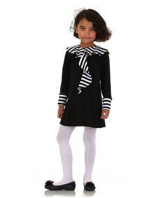 Loving this Black & White Stripe Ruffle Collar Dress - Girls on #zulily! #zulilyfinds