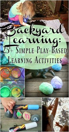 Backyard Learning: Easy Play-Based Learning Ideas - School ideas - Backyard learning is easy, cost effective and SO much fun! In fact your children will benefit mor - Outdoor Learning Spaces, Outdoor Activities For Kids, Kids Learning Activities, Sensory Activities, Educational Activities, Childcare Activities, Sensory Diet, Nature Activities, Play Based Learning