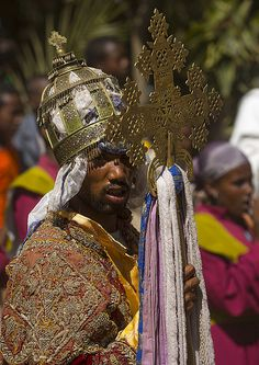 Ethiopian Orthodox Priest Holding A Cross During The Colorful Timkat Epiphany Festival, Lalibela, Ethiopia -  © Eric Lafforgue