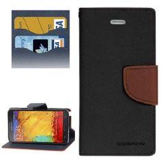 Mercury Leather Case Θήκη Πορτοφόλι Μαύρο (Samsung Galaxy Note 3) - myThiki.gr - Θήκες Κινητών-Αξεσουάρ για Smartphones και Tablets - Χρώμα μαύρο με καφέ δέστρα