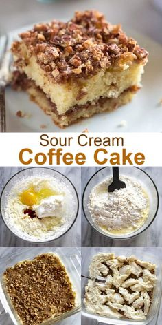 This Sour Cream Coffee Cake is a tender crumb cake with cinnamon pecan topping. It's one of my favorite weekend and brunch treats. Köstliche Desserts, Delicious Desserts, Dessert Recipes, Yummy Food, Sour Cream Desserts, Crumb Coffee Cakes, Coffe Cake, Sour Cream Coffee Cake, Coffee Cream