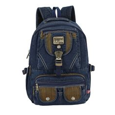 Miss Sunglows Washed Jeans Denim Backpack Retro Canvas Sport Travel Rucksack Blue *** Continue with the details at the image link. Denim Backpack, Canvas Backpack, Travel Backpack, Backpack Bags, Travel Bags, Fashion Backpack, Vintage Canvas, Casual Bags, Luggage Bags
