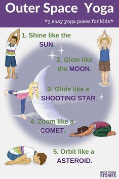 Outer Space Yoga and Book ideas! Learn about the solar system through children's books and yoga poses for kids. 5 easy yoga poses for kids. Pretend to be the sun, the moon, and a comet! Kids Yoga Stories - Education and lifestyle Poses Yoga Enfants, Kids Yoga Poses, Easy Yoga Poses, Yoga For Kids, Exercise For Kids, Preschool Yoga, Space Preschool, Space Activities For Kids, Family Activities
