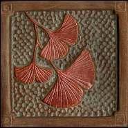Gingko tile green & copper glaze by Fay Jones Day