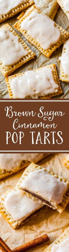 """Homemade Brown Sugar Cinnamon Pop-Tarts. 100% from scratch. The frosting """"sets"""" after an hour making them identical to the originals. Recipe at sallysbakingaddiction.com"""