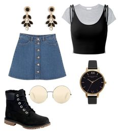 """Stoer en classy"" by esther-v-l ❤ liked on Polyvore featuring Olivia Burton, Victoria Beckham, Monki, RE/DONE, Doublju, Timberland and Vera Bradley"