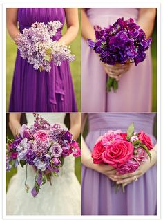 I like this color scheme with the bridesmaids dresses minus the first brighter purple dress. I would want to do a plum/egg plant, along with purple and pastel purple/lilac