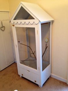 My Budgie cage converted from a child's wardrobe! Big Bird Cage, Bird Cages, Diy Parakeet Cage, Macaw Cage, Bird Houses Painted, Budgies, Parrots, Bird Aviary, Parrot Toys