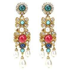 Ben Amun Byzantine Pearl Embellished Earrings ($345) ❤ liked on Polyvore featuring jewelry, earrings, antique pearl earrings, pearl jewellery, white pearl earrings, earrings jewelry and swarovski crystal jewelry