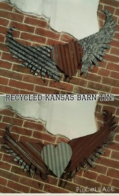 Kansas Barn Tin Heart with Wings Gypsy Junk Rusty bedroom wall decor home country by whattawaist on Etsy https://www.etsy.com/listing/210848867/kansas-barn-tin-heart-with-wings-gypsy