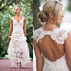 Country Cap-sleeved V-neck Long Lace Dress With Keyhole Back-BU_708747