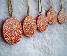 Set of Five Round Wooden Red and Gold Christmas by ellemardesigns on Etsy, $16.00