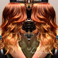Red ombre hair, red hair color, reddish blonde hair, blonde ends, Love Hair, Gorgeous Hair, Beautiful, Red Blonde Ombre, Blonde Ends, Golden Blonde, Red Hair Don't Care, Corte Y Color, Hair Color And Cut