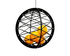 Pluk, a suspended storage sphere with crisscrossed elastic string