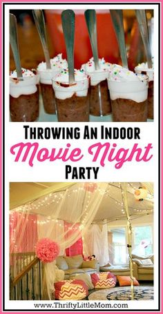 Throwing an indoor movie night party. Indoor movie parties are great birthday party ideas for tweens and birthday party ideas for teens. This post gives you thrifty tips for throwing a gorgeous and fun indoor movie party while not spending tons of cash! 13th Birthday Parties, Birthday Party For Teens, Slumber Parties, Birthday Party Themes, 14th Birthday, Birthday Invitations, Summer Birthday, Party Summer, Teen Parties