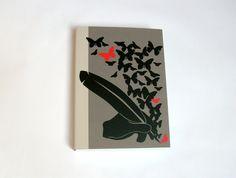 Liniertes Notizbuch A6, Tagebuch, Dankesbuch, Motiv: Feder schreibt Schmetterlinge, mit Haftnotizen, Lesezeichen, von DodoCards auf Etsy