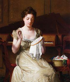 Seymour Joseph Guy (Américain, 1824-1910) ~ Huile sur toile (oil on canvas) ~ Seymour Joseph Guy, was an American romance painter.