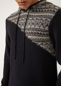 4fae5eebb7f82 EMPORIO ARMANI Hooded sweater with jacquard decoration on the shoulder  Jumper Man a