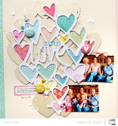WARNER LOVE scrapbook layout by Paige Evans | made with her Silhouette CAMEO