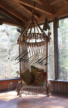 Handmade OOAK Macrame Vintage Retro Style Hanging Woodstock Hippie Elf Fairy Swing Chair as seen on HGTV Junk Gypsy series. via Etsy. Woodstock Hippies, Macrame Hanging Chair, Macrame Chairs, Hanging Chairs, Hanging Beds, Patterned Chair, Retro Stil, Swinging Chair, Chair Swing